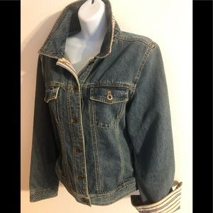 L.L. Bean Denim Jean Jacket Striped Flip Cuff M